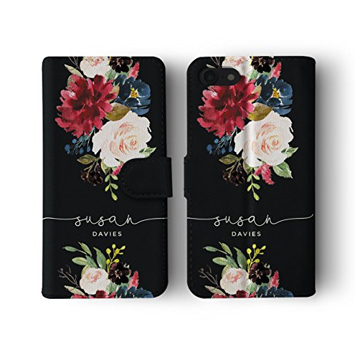 Tirita Personalised Initials Custom Wallet Leather Flip Phone Case Compatible with iPhone 6 & 6s PRINTED GLITTER, NOT REAL GLITTER Watercolour Floral Spring Summer Flowers Peony Roses from Tirita