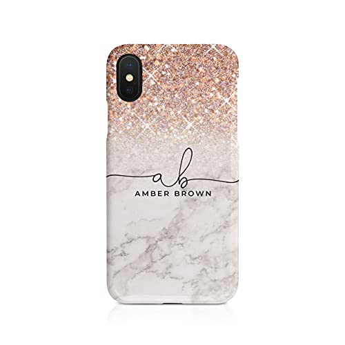 Personalised iPhone X & Xs Tirita Hard Case Cover PRINTED GLITTER, NOT REAL GLITTER Faded Glitter Marble Bling Sparkly Custom Initials Name Bling from Tirita