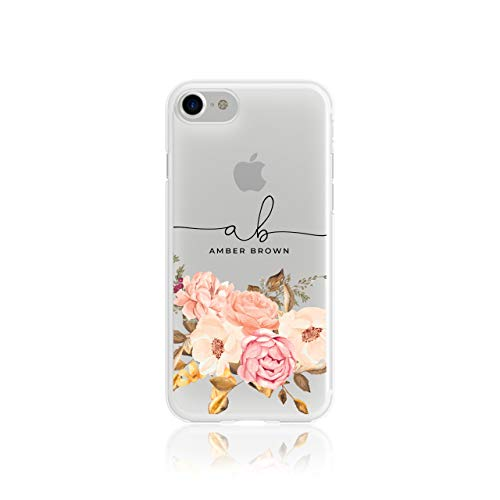 Personalised iPhone 6 & 6s Tirita Floral Flowers Shabby Chic English Roses Silicone Clear Soft TPU Rubber Gel Phone Case PRINTED GLITTER, NO REAL GLITTER Custom Initials Name from Tirita