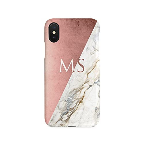 Personalised iPhone Xr Tirita Hard Case Cover PRINTED GLITTER, NOT REAL GLITTER Marble Rose Gold Golden Geometric Collage Custom Initials Name Bling from Tirita