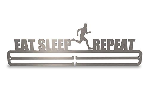 Medal Hanger Display 'Eat Sleep Run Repeat' Stainless Steel 2.0 from Tollington Stores
