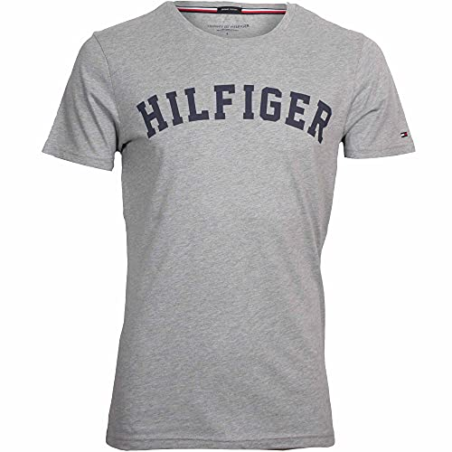 Tommy Hilfiger Men's SS Tee Logo T-shirt , Grey (Grey Heather 004), Small from Tommy Hilfiger