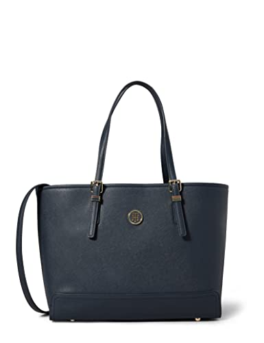Tommy Hilfiger Womens Honey Med Tote Canvas and Beach Tote Bag Blue (Tommy Navy) from Tommy Hilfiger