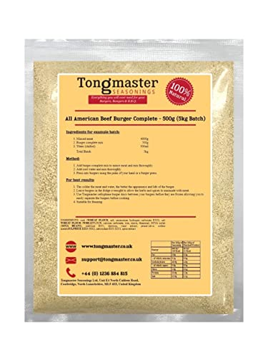 All American Beef Burger Complete - 500g (5kg Batch) from Tongmaster