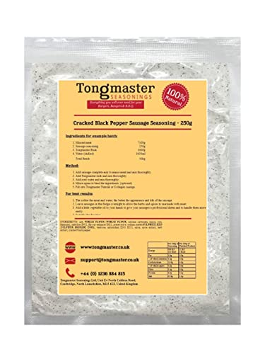Cracked Black Pepper Sausage Seasoning - 250g (Makes a 10kg Batch) from Tongmaster
