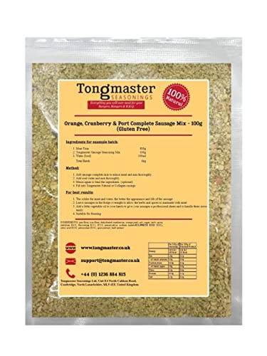 Orange, Cranberry and Port Complete Sausage Mix - 100g (This Pack Makes a 1kg Batch) Gluten Free from Tongmaster