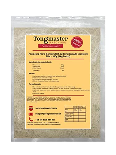 Premium Pork, Horseradish & Herb Sausage Complete Mix - 100g (1kg Batch) from Tongmaster