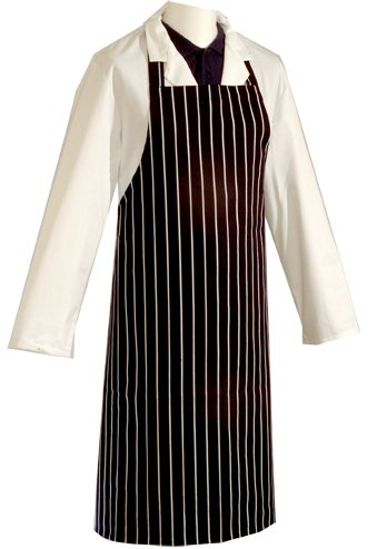 Professional 100% Cotton Woven Stripe Butchers Kitchen Cooks Apron Navy Blue from Tongmaster