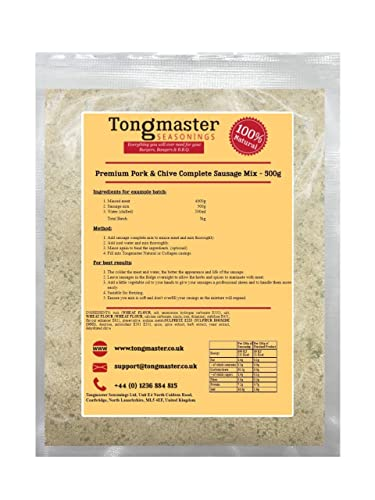 Premium Pork & Chive Complete Sausage Mix - 500g from Tongmaster