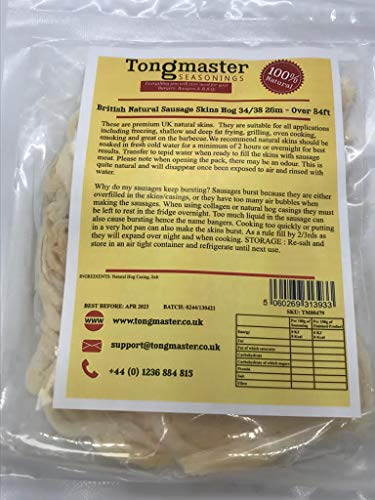 Tongmaster Premium British Natural Hog Sausage Casing Skin of 26 m Length x 34/38 mm Diameter from Tongmaster