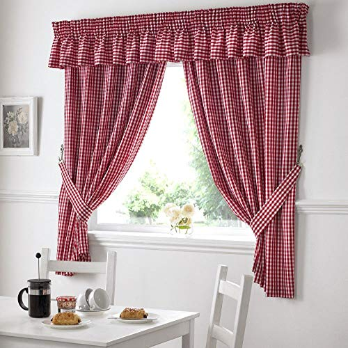 "Gingham Check Kitchen Tape Top Curtains - Red (46"" Wide x 42"" Drop) from Alan Symonds"