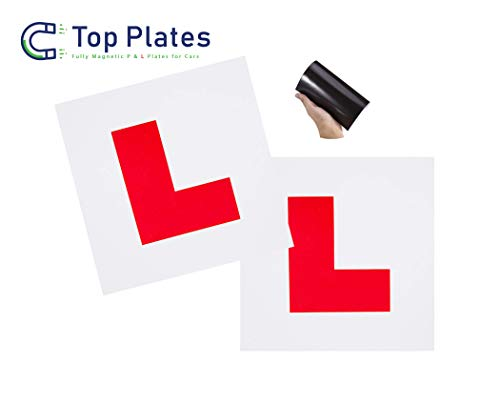 Top Plates Premium 2 Pack Fully Magnetic L Plates for new Learner Drivers. Leaves No Damage to Paint Work, Guaranteed not to fly off at high speed (2L Pack) from Top Plates
