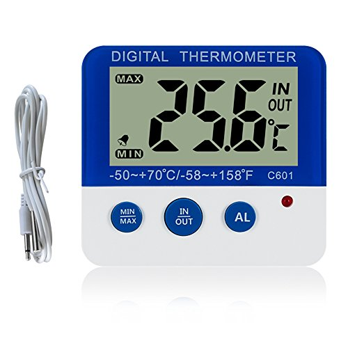 Digital Freezer/Fridge thermometer with Magnet and Stander TopSun Digital Freezer thermometer with LED Alarm Indicator Max/Min Memory freezer Thermometer for Home Kitchen Restaurants Bars Cafes from TopSun