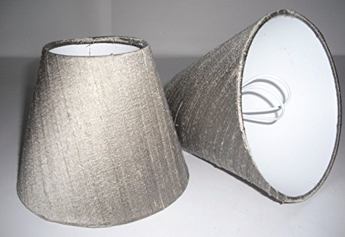 6 Candle Lampshade Handmade in UK - Taupe Silk from Tophouse Design - Lampshades & Cushions
