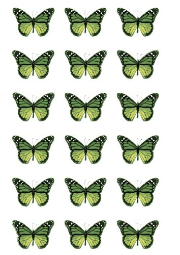 18 green Monarch edible butterfly cup cake topper decorations by Topped Off - FREE SHIPPING from Topped Off