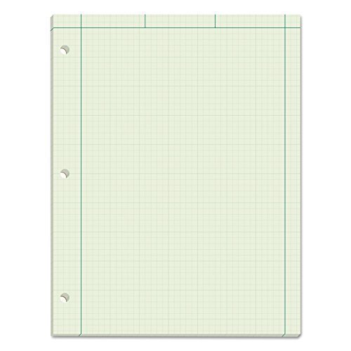 TOPS Engineering Computation Pad, 3-Hole Punched, 8.5 x 11 Inches, 5 Squares per Inch, 100 Sheets, Green, (35510) from Tops