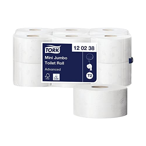 TORK 120238 Advanced Mini Jumbo Toilet Roll, 2-Ply (Pack of 12) from Tork
