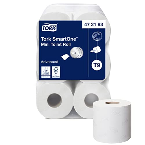 Tork AAT301 Smart One Mini Toilet Roll, 2-Ply, White (Pack of 12) from Tork