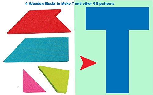 Toys of Wood Oxford TOWOWooden Tangram Puzzle -Tangram T Puzzle 4 pieces with 100 solutions - Wooden Brain teaser puzzle for kids and Adults from Toys of Wood Oxford