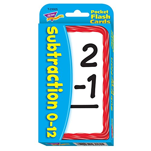 Trend 56-Piece 8 x 13 cm Subtraction Pocket Flash Cards, White from Trend