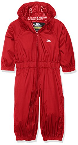 Trespass Button, Signal Red, 6/12, Waterproof Rain Suit with Hood Kids Unisex, Age 6-12 Months, Red from Trespass