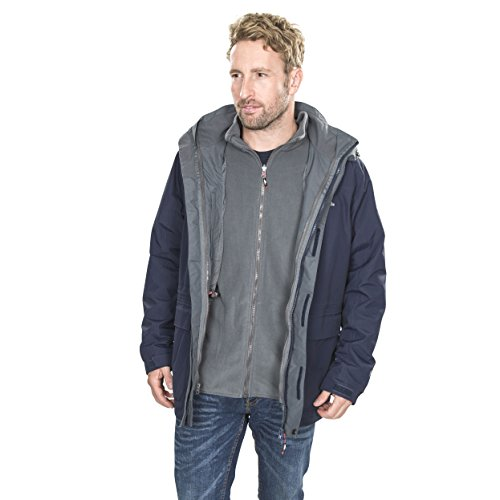 Trespass Men's Edgewater II Waterproof 3-in-1 Jacket with Hood, Removable Inner Fleece Jacket for Men, Navy, X-Small from Trespass