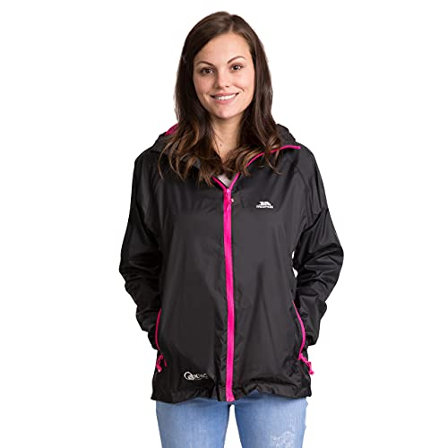 Trespass Qikpac Jacket Female, Black, S, Compact Packaway Waterproof Jacket for Women, Small, Black from Trespass