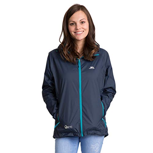 Trespass Qikpac Jacket Female, Navy, XS, Compact Packaway Waterproof Jacket for Women, X-Small, Blue from Trespass