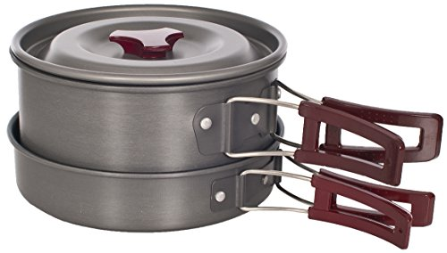 Trespass Reheat, Not Applicable, Stackable Camping Pot & Pan with Non-Stick Coating, Multicolour from Trespass