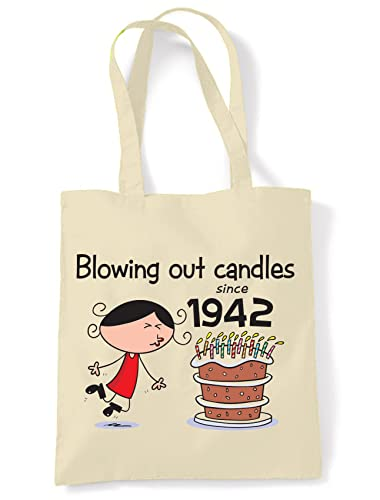 Blowing Out Candles Since 1937 Women's 80th Birthday Tote Shoulder Bag from Tribal T-Shirts