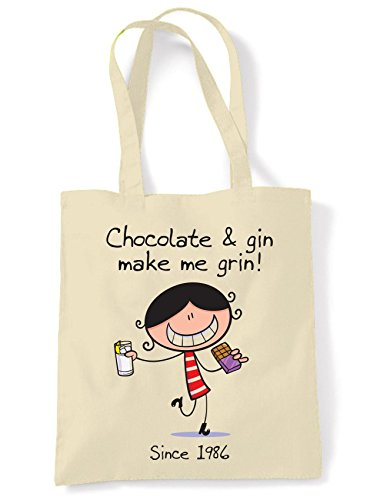 Chocolate & Gin Make Me Grin Women's 30th Birthday Present Shoulder Tote Bag from Tribal T-Shirts