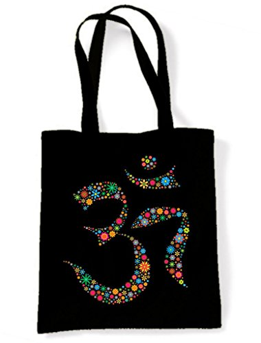Floral Om Symbol Cotton Shoulder Shopping Bag from Tribal T-Shirts