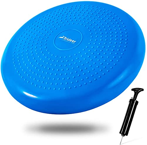 Trideer Air Stability Wobble Cushion with Free Pump, 34cm Extra Thick Core Balance Disc, KIDS Wiggle Seat, Great for Improving Core Strength & Relieving Back Pain (34cm Blue) from Trideer