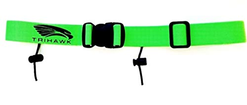 Trihawk Kids/Junior Triathlon/Running Race Number Belt. Available in Numerous Colours! Adjustable Age 7-16 Years, With Quick Release Buckle. Made in UK. Green. from Trihawk