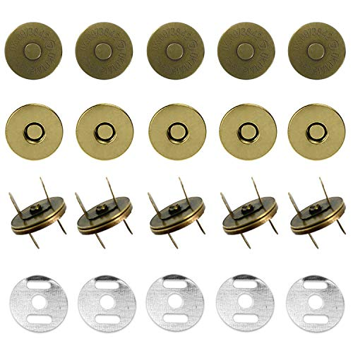 Trimming Shop 14mm Bronze Magnetic Snap Fastener for Sewing and Clothing Repair, Purses, Bags & Crafts, DIY Projects, Lightweight, Press Stud Closure with Two Metal Backing Washers, Pack of 10 from Trimming Shop