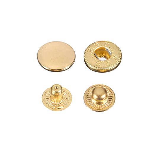 100 x 12.5mm Gold Set of Snap Fasteners for Clothing and Accessories - Press Studs for Adding Secure Closure to Jackets, Jeans, Bags, Straps and Other Sewing Projects - Popper for Clothes Repair from Trimming Shop