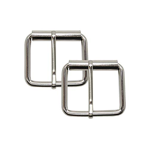 Trimming Shop Metal Single Prong Roller Buckle Strap Adjuster for Shoes, Bags, Luggage, Backpack, Clothing Accessories, Leathercraft (50mm, Silver, 2pcs) from Trimming Shop