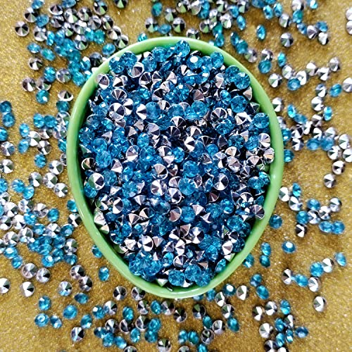 Trimming Shop 2000 Pieces 4.5mm Silver Turquoise Blue Acrylic Crystal Confetti - Diamond Scatters for Weddings, Birthdays, Events, and Celebrations - Party Decoration for Table Tops and Flat Surfaces from Trimming Shop