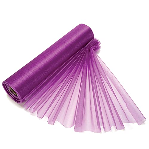 29cm x 25m Purple Roll of Organza Sheer Fabric - Elegant Decorative Cloth for Wedding Chair Bows, Table Runners, Party Favours - Crafting Supplies for Ribbons, Dress Accents & Bags from Trimming Shop
