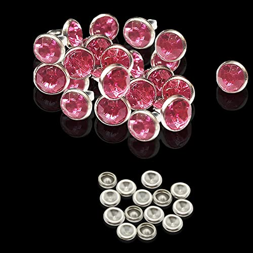 Trimming Shop 50 x 7mm Light Pink Diamante Rivets for Leather Crafts - Coloured Stud Decoration for Handbags, Jeans, Belts, Dog Collars - Rustproof Brass Fastener with Nickel Plating from Trimming Shop