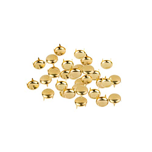 500 x 5mm Gold Studs for Fabric and Leather Crafts - Round Dome Head Stud - Decorative Accessory for Jeans, Shoes, Bags, Jackets and Belts - Golden Embellishment for Arts and Crafts, Clothing Repair from Trimming Shop