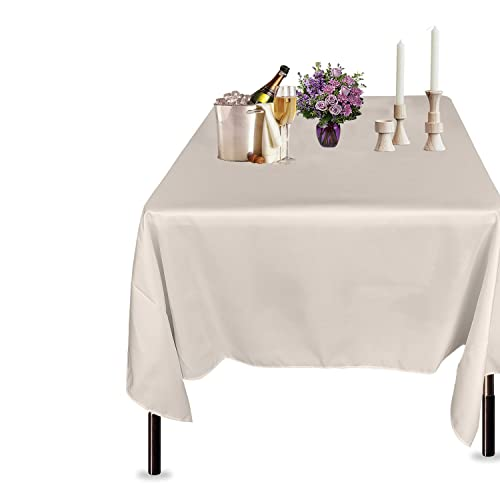 Trimming Shop Ivory Cotton Polyester Square Table Cloth Cover For Dining & Christmas Party 70 x 70 Inches by (Single) from Trimming Shop
