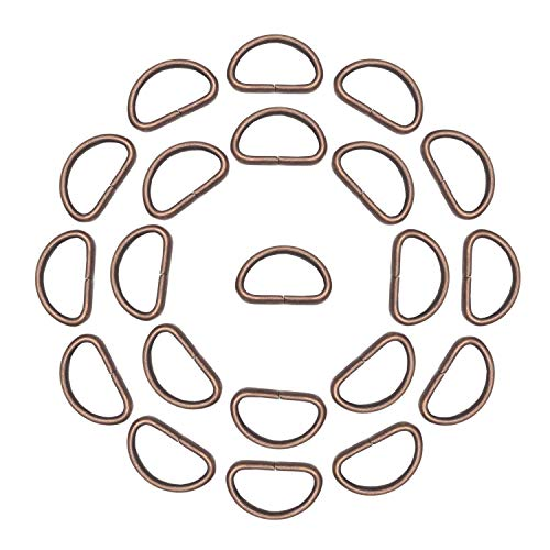 Trimming Shop Non Welded Metal D Ring Fasteners Durable Buckles for Hand Bag, Webbing Strap, Purse, Dog Collars, Belts, DIY Projects, 25mm, Copper, 10pcs from Trimming Shop