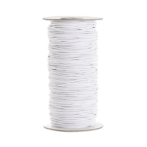 Trimming Shop 2mm Wide, 5 Metres Long Full Roll - White Elastic Ribbon for Sewing and Crafts - Spool of Round Elastic Band for Clothing - Stretchy Cord for Skirts and Trousers Waistbands from Trimming Shop