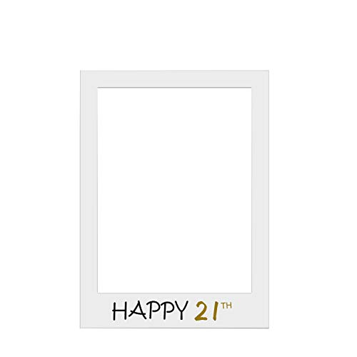 Trimming Shop Happy 21th Photo Booth Large Size Selfie Frame for Birthday, Anniversary Party Decoration, Photography, Special Occasions, Events 48cm x 69cm from Trimming Shop