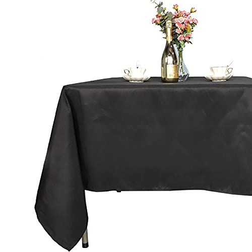 Trimming Shop Rectangle Tablecloth Premium Quality Fabric, Durable Table Cover for Wedding Decorations Banquets Corporate Parties and Events, Black, 70 x 144 inches, 1pc from Trimming Shop