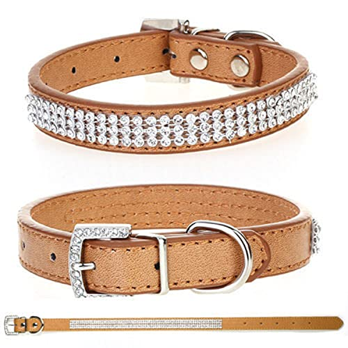 Trimming Shop Medium Pet Collar, For Dogs and Cats, PU Leather Adjustable Belt With Rhinestone Crystal Buckle Diamante Closure Animal Accessory, Lightweight, Protective, Beige from Trimming Shop