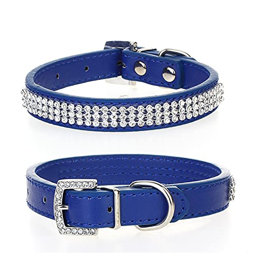 Trimming Shop Medium Pet Collar, For Dogs and Cats, PU Leather Adjustable Belt With Rhinestone Crystal Buckle Diamante Closure Animal Accessory, Lightweight, Protective, Blue from Trimming Shop