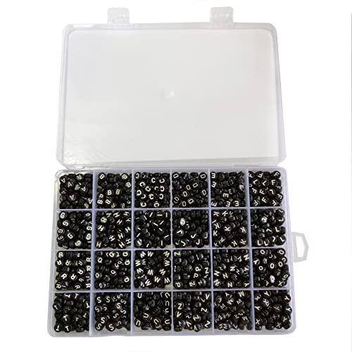Trimming Shop Round Acrylic Black Letter Beads with White A to Z Alphabet for Key Chains, Bracelets, DIY Crafts, Kids Educational Toys, Box Set from Trimming Shop