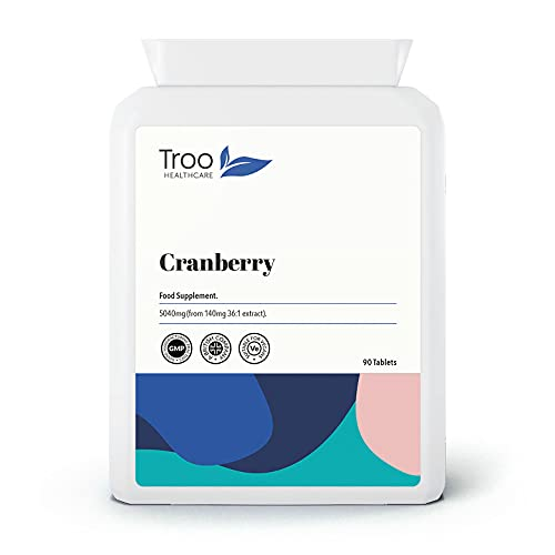 Cranberry Supplement (5040mg) - 90 Tablets | High Strength Daily Capsules | UK Manufactured to GMP Standards from Troo Health Care